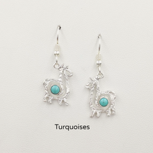 Load image into Gallery viewer, Alpaca or Llama Compact Spiral  Earrings with Turquoise Gemstones - Sterling Silver on French Wires