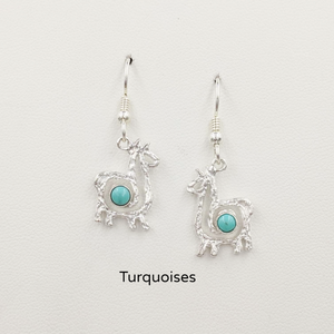 Alpaca or Llama Compact Spiral  Earrings with Turquoise Gemstones - Sterling Silver on French Wires