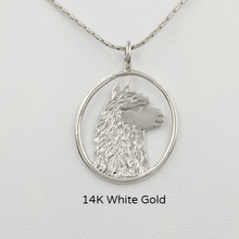 Load image into Gallery viewer, Alpaca Huacaya Head Open View Pendant - Classic open design with the unique silhouette of a Huacaya alpaca head. 14K White Gold.