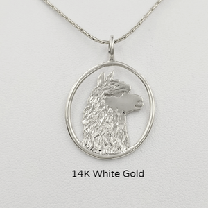 Alpaca Huacaya Head Open View Pendant - Classic open design with the unique silhouette of a Huacaya alpaca head. 14K White Gold.