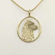 Load image into Gallery viewer, Alpaca Huacaya Head Open View Pendant - Classic open design with the unique silhouette of a Huacaya alpaca head. 14K Yellow Gold.