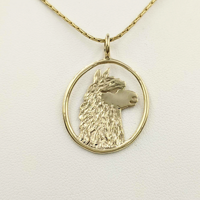 Alpaca Huacaya Head Open View Pendant - Classic open design with the unique silhouette of a Huacaya alpaca head. 14K Yellow Gold.
