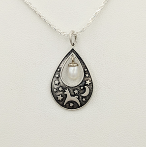 Alpaca or Llama Celestial Spirit Teardrop Pendant with Pearl  Sterling Silver with white freshwater pearl dangle