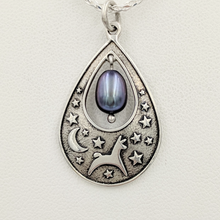 Load image into Gallery viewer, Alpaca or Llama Celestial Spirit Teardrop Pendant with Pearl  Sterling Silver with raven freshwater pearl dangle