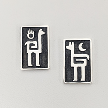 Load image into Gallery viewer, Alpaca or Llama Petroglyph Earrings  smooth texture  fully oxidized  on posts  Sterling silver