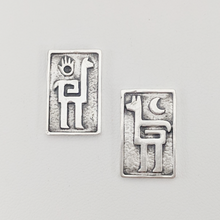 Load image into Gallery viewer, Alpaca or Llama Petroglyph Earrings  smooth texture  partially oxidized  on posts  Sterling silver