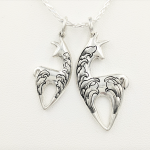 Two sizes of Hand Engraved Spirit Crescent Pendants - Sterling Silver