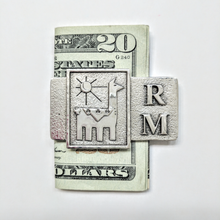 Load image into Gallery viewer, Custom Money Clip with Farm or Ranch Logo - Sterling Silver with Initials R & M