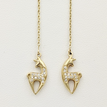 Load image into Gallery viewer, Alpaca or Llama Spirit Crescent Petite Earrings with Pave Diamonds Yellow Gold on threaders