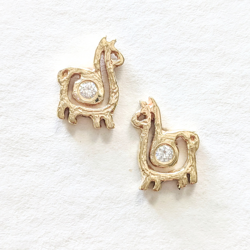 Alpaca or Llama Petite Spiral Earrings with Diamonds  compact 14K Yellow Gold on posts