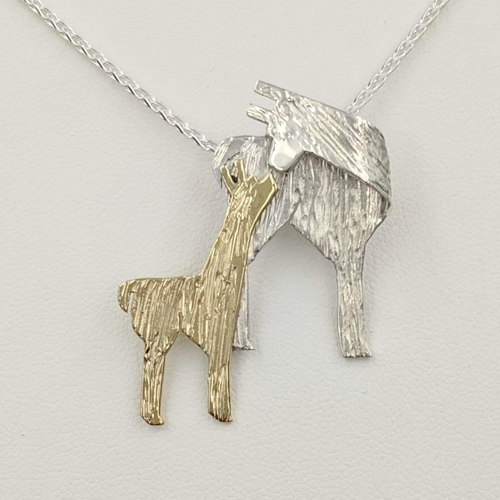 Alpaca Suri Kiss Pendant Sterling Silver Momma with a 14K Yellow Gold baby Cria