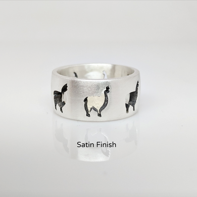 Alpaca HuacayaSilhouette Icon Punch Ring -  satin finish sterling silver