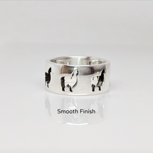 Load image into Gallery viewer, Alpaca Huacaya Silhouette Icon Punch Ring - smooth finish sterling silver
