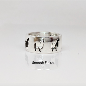 Alpaca Huacaya Silhouette Icon Punch Ring - smooth finish sterling silver