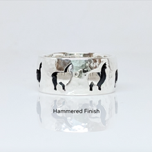 Load image into Gallery viewer, Alpaca Huacaya Silhouette Icon Punch Ring  - Hammered finish sterling silver