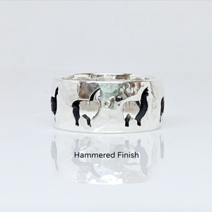 Alpaca Huacaya Silhouette Icon Punch Ring  - Hammered finish sterling silver