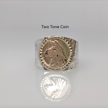 Load image into Gallery viewer, Llama Silhouette  Profile Coin Ring - two tone 14K Gold Coin Accent  Decorative rim