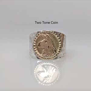 Llama Silhouette  Profile Coin Ring - two tone 14K Gold Coin Accent  Decorative rim