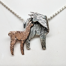 Load image into Gallery viewer, Alpaca Huacaya Kiss Pendant - Mother turning back to kiss her baby cria; Sterling Silver with 14K Rose Gold Baby Cria - Hidden Bail