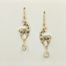 Load image into Gallery viewer, Custom Spirit Image  Earrings with Teardrop CZ Dangle Accents - 14K Yellow Gold on French Wires