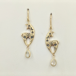 Custom Spirit Image  Earrings with Teardrop CZ Dangle Accents - 14K Yellow Gold on French Wires