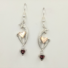 Load image into Gallery viewer, Custom Spirit Fiber Earrings - with 14K Rose Gold Heart Accents and Heart Shaped Garnet Dangles on French Wires