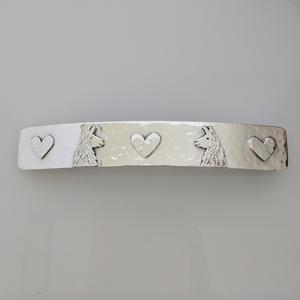 Custom Hair Barrett with Llama Heads and Hearts Accents - Sterling Silver Satin Finish