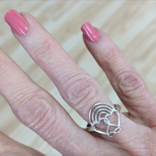 Load image into Gallery viewer, Rainbow Bridge Ring Sterling Silver Shown on a woman's hand