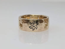 Load image into Gallery viewer, Custom Ring with an Alpaca Punch Cutouts with a Sun accent - 14K Yellow Gold