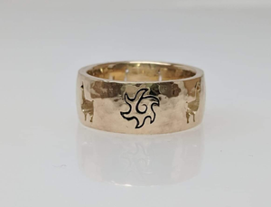 Custom Ring with an Alpaca Punch Cutouts with a Sun accent - 14K Yellow Gold