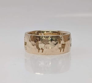 Custom Ring with an Alpaca  punch cutouts - 14K Yellow Gold