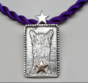 ALSA National Show Champion Charm Pendant - Alpaca National Champion Sterling Silver with a 14K Rose Gold Star Accent