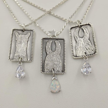 Load image into Gallery viewer,  3 ALSA National Show Champion Charm Pendants - Alpaca Reserve National  Champion - Sterling Silver with CZ teardrop dangle, Llama National Champion Sterling Silver with imitation teardrop Opal dangle and Llama Reserve National Champion with CZ teardrop dangle