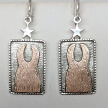Load image into Gallery viewer,  ALSA National Show Champion Charm Earrings - National Llama Champion - Sterling Silver with 14K Rose Gold Llamas on French wires