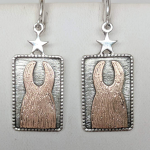 ALSA National Show Champion Charm Earrings - National Llama Champion - Sterling Silver with 14K Rose Gold Llamas on French wires