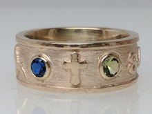 Load image into Gallery viewer, Custom Ring with various Symbols - Cross Icon - 14K Yellow Gold with Faceted Gemstone Accent