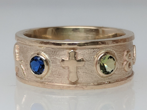 Custom Ring with various Symbols - Cross Icon - 14K Yellow Gold with Faceted Gemstone Accent