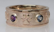 Load image into Gallery viewer, Custom Ring with various Symbols - Paw Icon - 14K Yellow Gold with Faceted Gemstone Accent