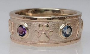 Custom Ring with various Symbols - Paw Icon - 14K Yellow Gold with Faceted Gemstone Accent