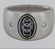 Load image into Gallery viewer, Custom Ring with Farm or Ranch Logo - 14K  White Gold with Diamond accents