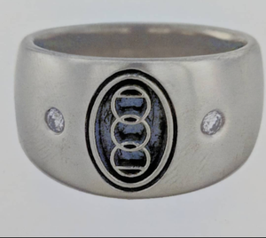 Custom Ring with Farm or Ranch Logo - 14K  White Gold with Diamond accents