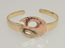 Load image into Gallery viewer, Custom Cuff Bracelet  - Momma and Baby Cria Curled Up - 14K Yellow, White and Rose Gold