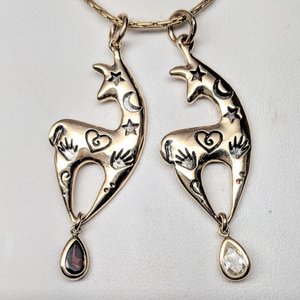 2 Custom Spirit Image Pendants with Genuine Garnet and Clear CZ Teardrop Dangle Accents - 14K Yellow Gold