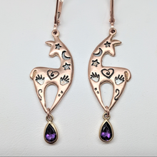 Load image into Gallery viewer, Custom Spirit Image  Earrings with Teardrop Amethyst Dangle Accents - 14K Rose Gold on French W