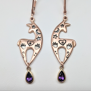 Custom Spirit Image  Earrings with Teardrop Amethyst Dangle Accents - 14K Rose Gold on French W