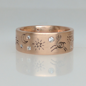 Custom Ring with Alpaca or Llama Icons - 14K Gold Rose Band with Diamond Accents Satin Finish (one view)
