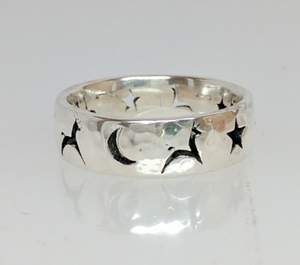 Custom Ring  Punch with Leaping  Llama or Alpaca Icons -  Also Stars and a Moon - Sterling Silver  Hammered Finish
