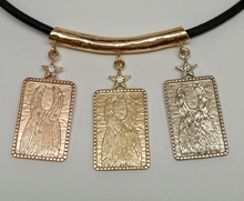 Load image into Gallery viewer, 3  ALSA National Show Champion Charm Pendants - Llama National Champion 14K Rose, Yellow and White Gold hanging on a 14K Yellow Gold Tube