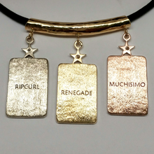 Load image into Gallery viewer, 3  ALSA National Show Champion Charm Pendants -Reverse side Customized with the Champions' Names Llama National Champion 14K Rose, Yellow and White Gold hanging on a 14K Yellow Gold Tube