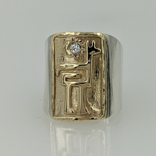 Load image into Gallery viewer, Custom Ring with an Alpaca or Llama Petroglyph Motif  -14K Yellow Gold with Sterling Silver Band Diamond Accent